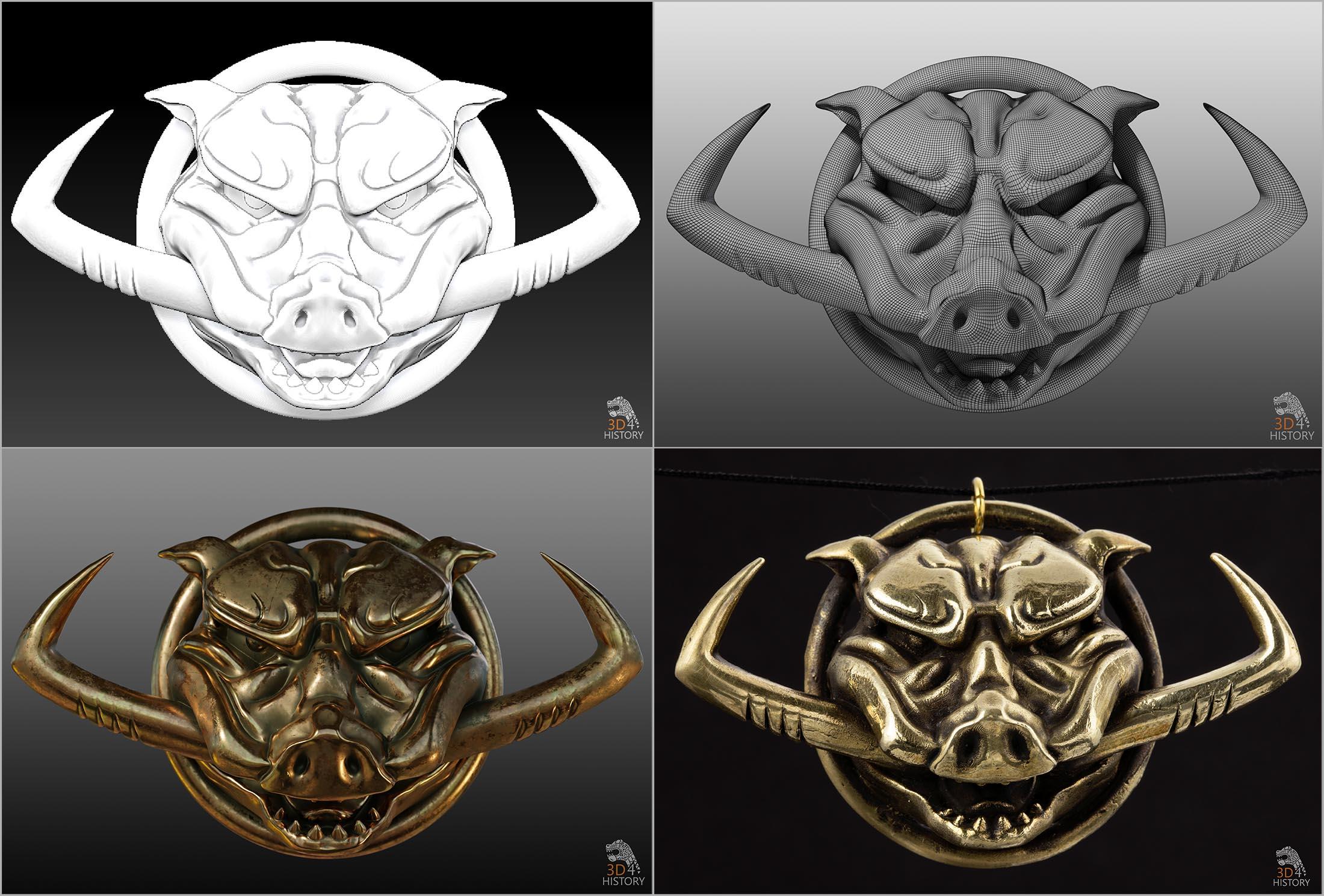 Dzik: dodel 3d, model z widoczna siatką, model z teksturą imitującą brąz i zdjęcie odlewu